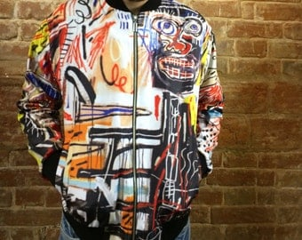 Philistines – Jean-Michel Basquiat Bomber Jacket, Full Print, Women's, Men's sizes are avalible, Zip Front Jacket, Art jacket, Art print