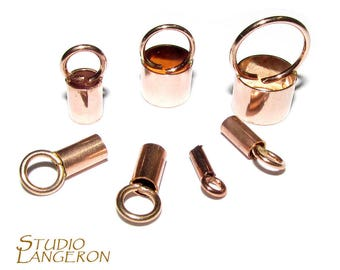14K Rose Gold filled tube End Caps, Tube end caps, Gold filled end cap, End cap, 14K Gold Filled, size from 1.1 to 6.6 mm - 1 pair (2 piece)