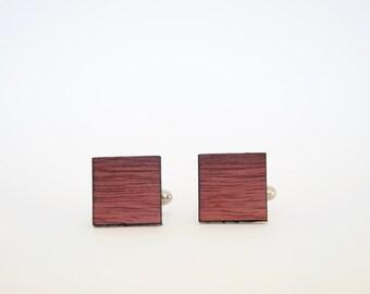 Australian Jarrah Cufflinks - Square cufflinks cut from recycled Australian wood