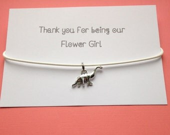 Dinosaur white necklace, thank you for being my flower Girl, bridesmaid, wedding favour, gift for her, handmade jewellery