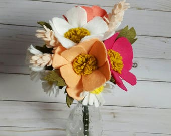 Felt flower bouquet with cosmos and mini daisies,  spring wedding bouquet, felt flower bouquet, felt wedding bouquet