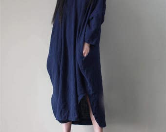 Women Cotton Casual Dress, Linen Oversize Dress, Plus Size Clothing, Navy Dress, Asymmetrical Tunic Dress