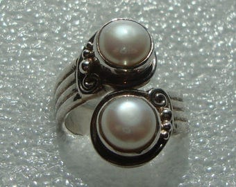 Sale Code JUNE50 Save 50% Vintage Sterling Silver 925 SAJEN Double Pearl Fashion Ring 6.5 1E
