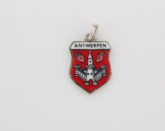 Vintage Sterling Silver Shield Antwerpen Souvenir Travel Charm