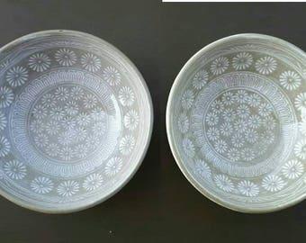 Pair of japanese bowls, japan ceramic, rice bowl, soup bowl, japan pottery, handmade pottery, paint ceramic, bowl, sukiyaki bowl, asian bowl