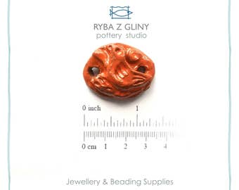Connector, Bird Connector, Orange Connector, Jewelry Connector, Glazes Pendant, Handmade Connector