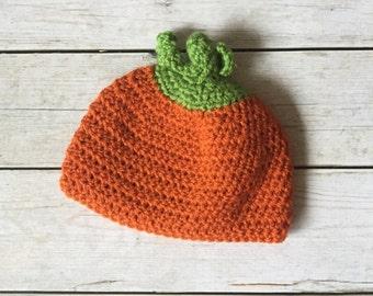 Crochet Pumpkin Hat - Crochet Hat - Photo Prop - Pumpkin Beanie - Pumpkin Hat - Crochet Baby Hat - Baby Pumpkin - Newborn Prop - Handmade