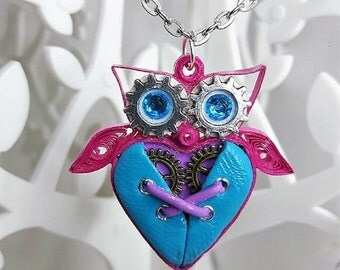 Pink and blue fimo quilling steampunk OWL necklace
