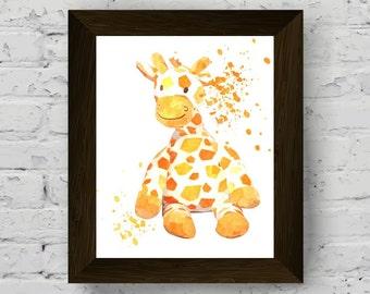 giraffe print, animal wall art, nursery poster, baby room watercolor, animal watercolor, kids room print, printable art, digital download