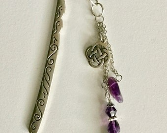 Antique Silver (plated) Glass Purple Beaded Handmade Hook Bookmark
