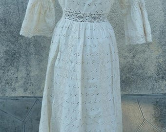 dress vintage 70 s lace ctn size XS 34