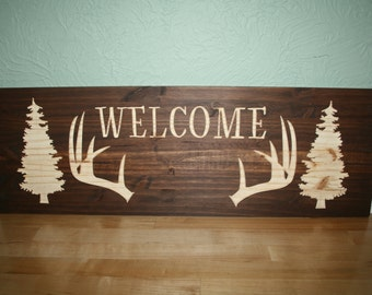 Welcome Sign, Woods, Hunter, Tree, Engraved Wooden, Sign