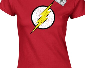 New Vintage Flash Inspired by The Big Bang Theory Ladies T-Shirts. Free delivery included.