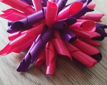 Korker hair bow, pink/purple korker, pink/purple hair bow
