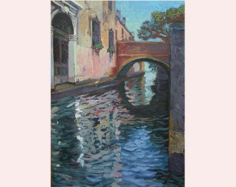 "Venice Canal Original Oil Painting Venice Canal Venice Bridge Architecture Original Art Сityscape Painting Venice Art 10""x14"" (25х35 cm)"
