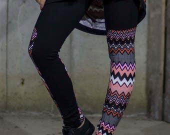 Zig zag pink leggings | Magenta pink black and white sports leggings by Silvia Monetti