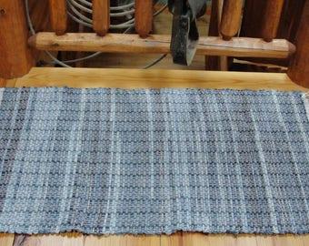 "Hand Woven Recycled Denim Blue Jean Rag Rug measures 25"" x48"" Item# 503BJ"
