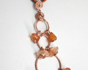 Copper and carnelian necklace Caduceus