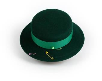 LUSH GREEN felt canotier boater hat