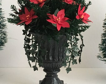 Dollhouse Miniature Red Poinsettia Urn with Greenery Artist Made