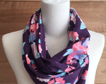 Pink flowers and purple jersey infinity scarf