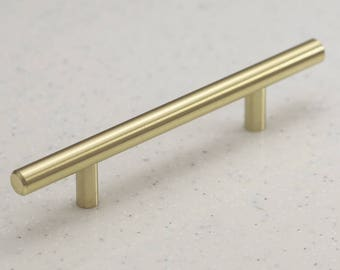 """Satin Brass Cabinet Hardware Euro Style Bar Handle Pull - 96mm (3-3/4"""") Hole Centers, 6-3/4"""""""" Overall Length - Modern Gold"""