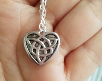 Sale Sterling silver celtic heart necklace
