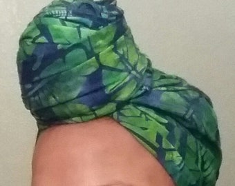 Blue and Green Tropical Headwrap