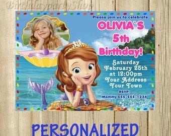 Sofia the First Invitation, Sofia Birthday Invite - Personalized, Digital File