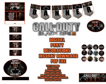 Call of Duty Black Opts 111 Digital Party Decorations Banner, Centerpiece and More