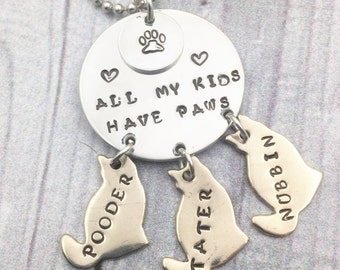 Pet necklace, pet pendant, cat necklace, hand stamped jewelry, custom pendant, custom metal jewelry, dog pendant, All my kids have paws