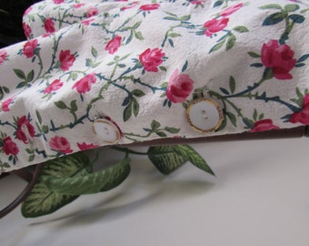 50% OFF 1940s Vintage Cotton Textured Flower Pattern Blouse Shirt Top