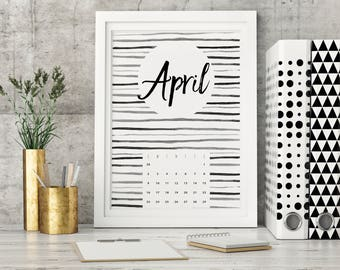April 2017 Calendar Printable Wall Art A4 Print - Instant Download Digital File 2017 months new year stars Monochrome - DIgital File
