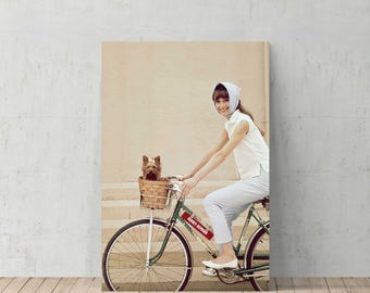 Audrey Hepburn Riding Bike With Her Dog Vintage Canvas Print Home Decor Iconic Wall