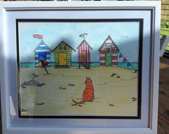 Ginger Cat by the Seaside Watercolour painting.