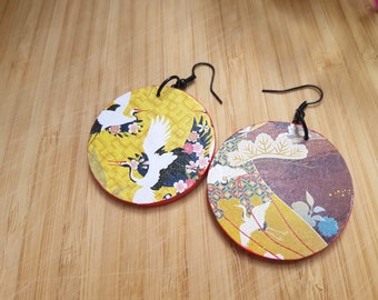 Golden cranes earrings - large, round, Japanese style, decorative earrings