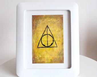 Printable Digital Harry Potter book page hand painted Deathly Hallows Acrylic painting JPEG Hufflepuff Yellow