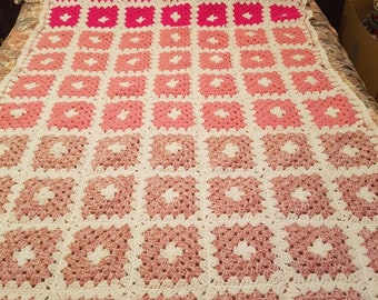 70's Granny Blanket/Vintage Afhgan Crochet/ 83/48 ins/ Single Bedspread/Sofa Throw/Girls/ Bubble Gum Pink Pale Pink//  READY FOR SHIPPING