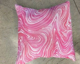 "Pink/Coral Marble Pillow 18""/ Decorative Pillow/ Linen Housewares/ Accent pillow"