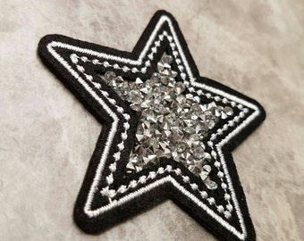 Star Patch Diamante Iron on Applique