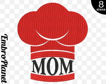 Mom Chef Hat Kitchen - Design for Embroidery Machine Instant Download Digital Graphic File Stitch 4x4 5x7 inch hoop sign chef hat cap 419e