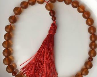 Genuine Baltic Amber 33 pcs Islamic Prayer Beads Misbaha Tasbih Kombolo 10 mm Round Beads Cognac