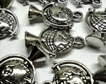 Silver Tone Metal World Globe Charms- Pack of Two - H328