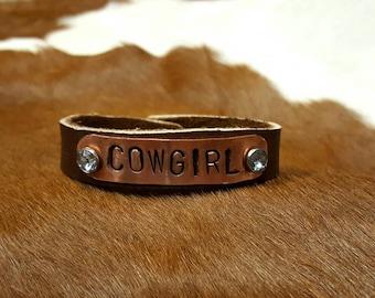 Cowgirl copper stamped leather cuff