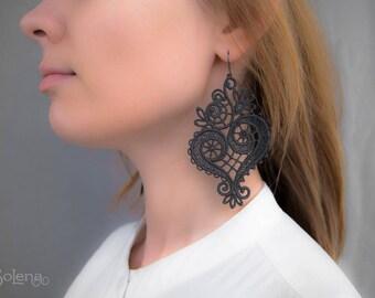 """Lace earrings """"Nocturne """"/ dangle earrings // statement lace jewelry / bohemian long earrings, victorian, unique, boho"""