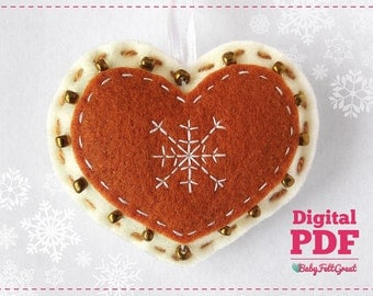 Digital PDF Pattern DIY Christmas felt ornaments Christmas Heart Christmas decoration Instant download