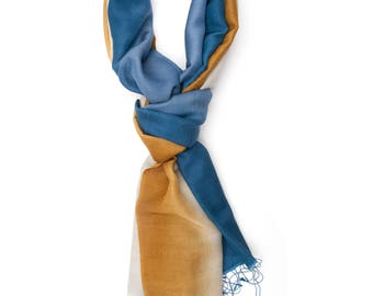 Shaded Blue and Gold Stole