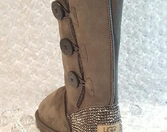 Bling Ugg Bailey Button Triplet III, Tall Boots, Women's Custom Ugg Boots Swarovski Crystal Bling Australian Fur Snow Boots, Bling Boots