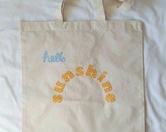 Hello Sunshine Shopping Bag, Tote Bag, Natural Cotton Bag