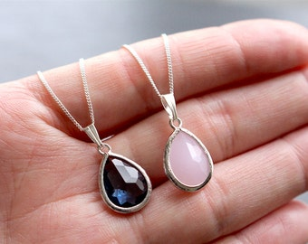 Teardrop necklace, Bridesmaid gift, sapphire pendant, pink pendant, bridesmaid pendant, bridesmaid necklace, bridesmaid jewellery